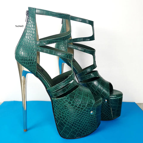 Green Croco Cage Style High Heels - Tajna Club