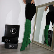 Over Knee Green Suede Pointed Nose Boots - Tajna Club