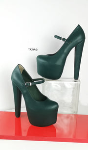 Emerald Green Mary Jane High Heel - Tajna Club