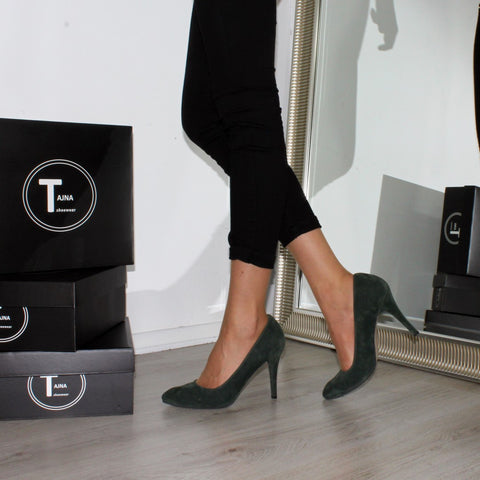 Dark Green Suede Classic Stiletto - Tajna Club