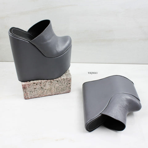 Gray Sabo Platform Heel Wedge Mules - Tajna Club
