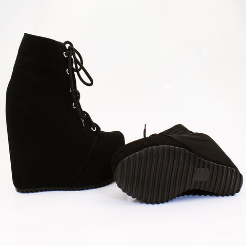 Black Faux Suede Lace Up Platform Wegdes - Tajna Club