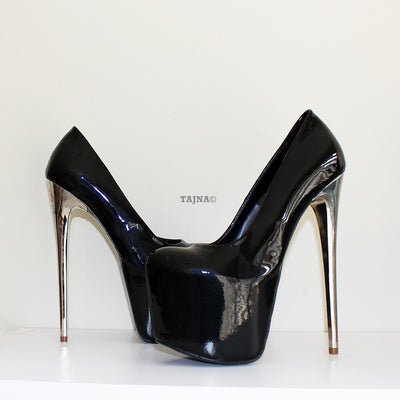 Silver Heel Black Patent Leather Platform Shoes - Tajna Club
