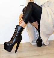 Military Style Lace Up High Heel Boots - Tajna Club