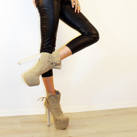 Beige Suede Lace Up High Heel Platform Ankle Boots - Tajna Club