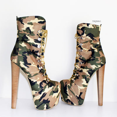 Camouflage High Heel Platform Ankle Boots - Tajna Club