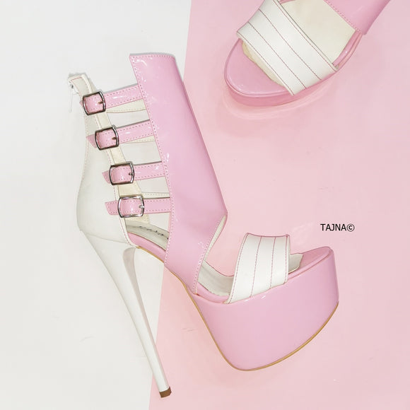 White Pink Belted Ankle Platforms - Tajna Club