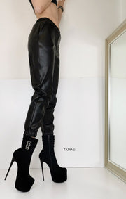 Aragon Black Suede Belted Heel Boots - Tajna Club