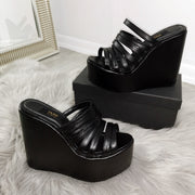 Multi Strap Platform Wedge Mules - Tajna Club