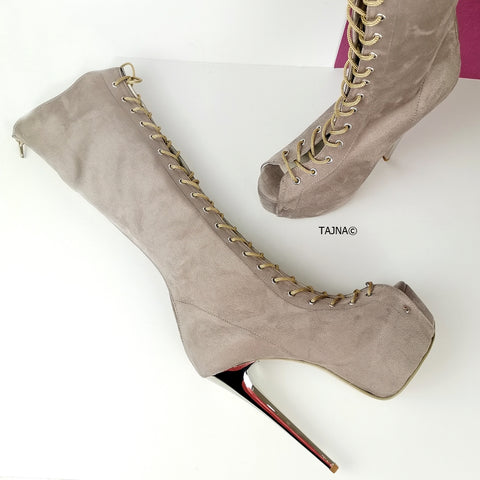 Lace Up Gladiator Beige Heel Boots - Tajna Club