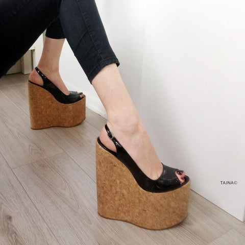 Black Patent Cork Platform Wedge Sandals - Tajna Club