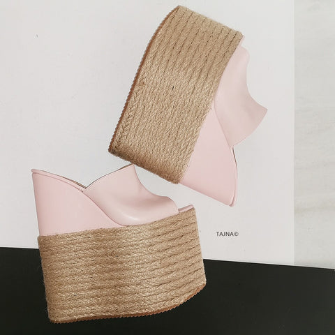 Pink High Heel Espadril Wedge Mules - Tajna Club