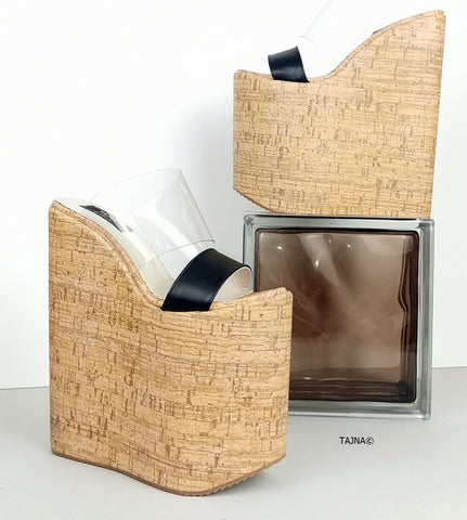 High Heel Cork WEdge Platform Mules - Tajna Club
