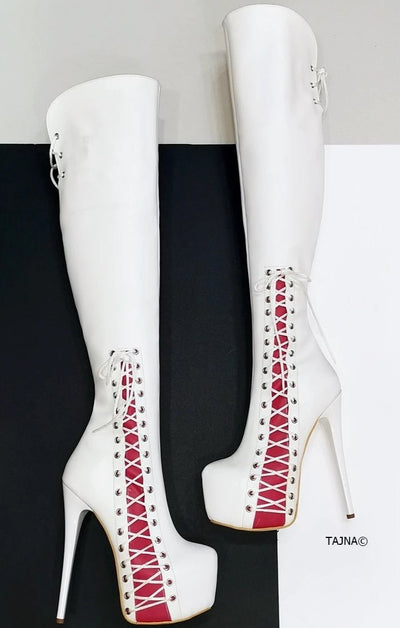 White Pink Knee High Corset Boots - Tajna Club