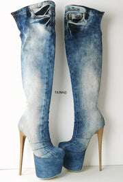 Denim Jean Over the Knee Long Boots - Tajna Club