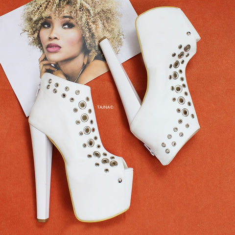 White Punch Peep Toe Ankle Platform Booties - Tajna Club