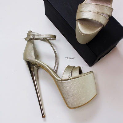 Matte Gold Cross Strap Platform Shoes - Tajna Club