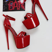 Red Patent Triple Strap Platforms - Tajna Club