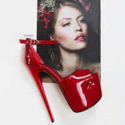 Red Patent Ankle Strap Platform Shoes - Tajna Club