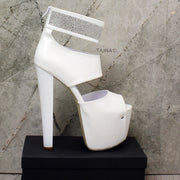 Gemstone White Ankle Platform Heels - Tajna Club