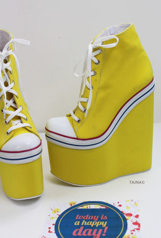 Yellow Lace Up High Heel Wedge Booties - Tajna Club
