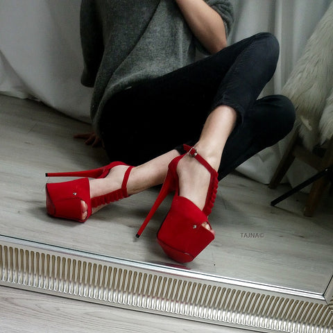 Red Suede Romantic Strap High Heels - Tajna Club