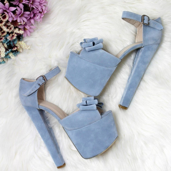 Baby Blue Suede Bridal Platform Shoes - Tajna Club