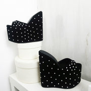 Black Suede Gem Stone Platform Wedge Mules - Tajna Club