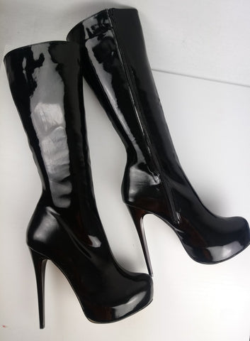 Black Patent Platform Long Boots - Tajna Club