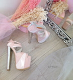 Pink Powder White High Heel Platform Shoes - Tajna Club