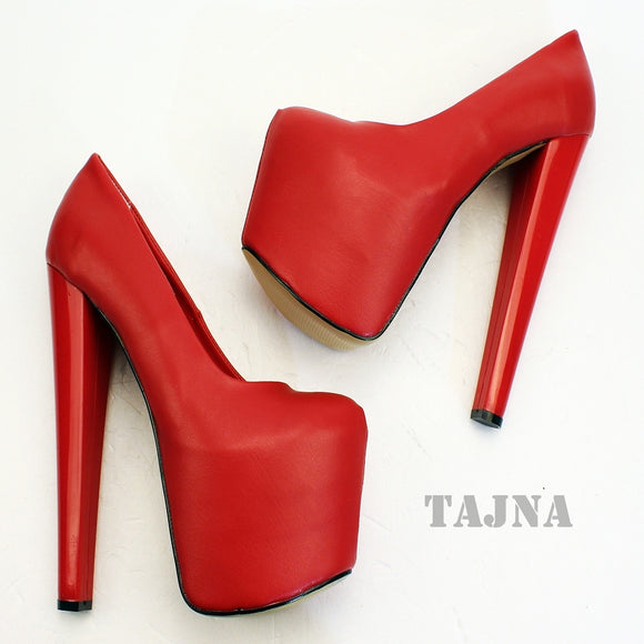 19 cm Red High Heel Platform Shoes - Tajna Club