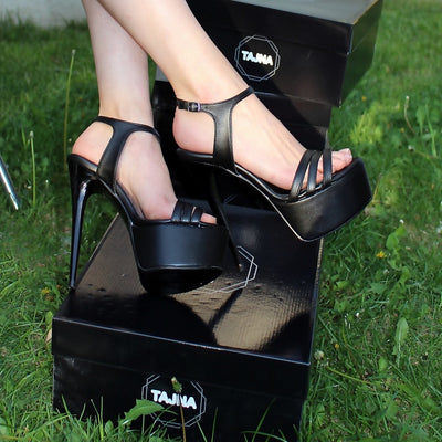 Multi Strap Ankle Black High Heel Platform Shoes - Tajna Club
