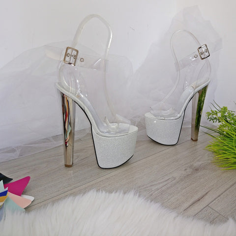 Ankle Strap Transparent Silver High Heel Platform Sandals - Tajna Club