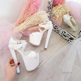 White Patent Leather High Heel Platform Shoes - Tajna Club