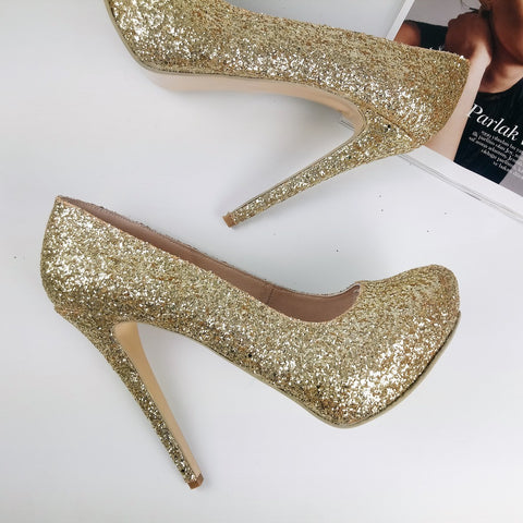Gold Glitter Shimmer Platform Pumps - Tajna Club
