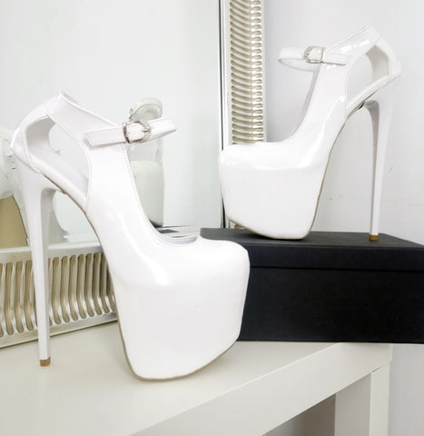 White Mary Jane Patent Platform Heels - Tajna Club