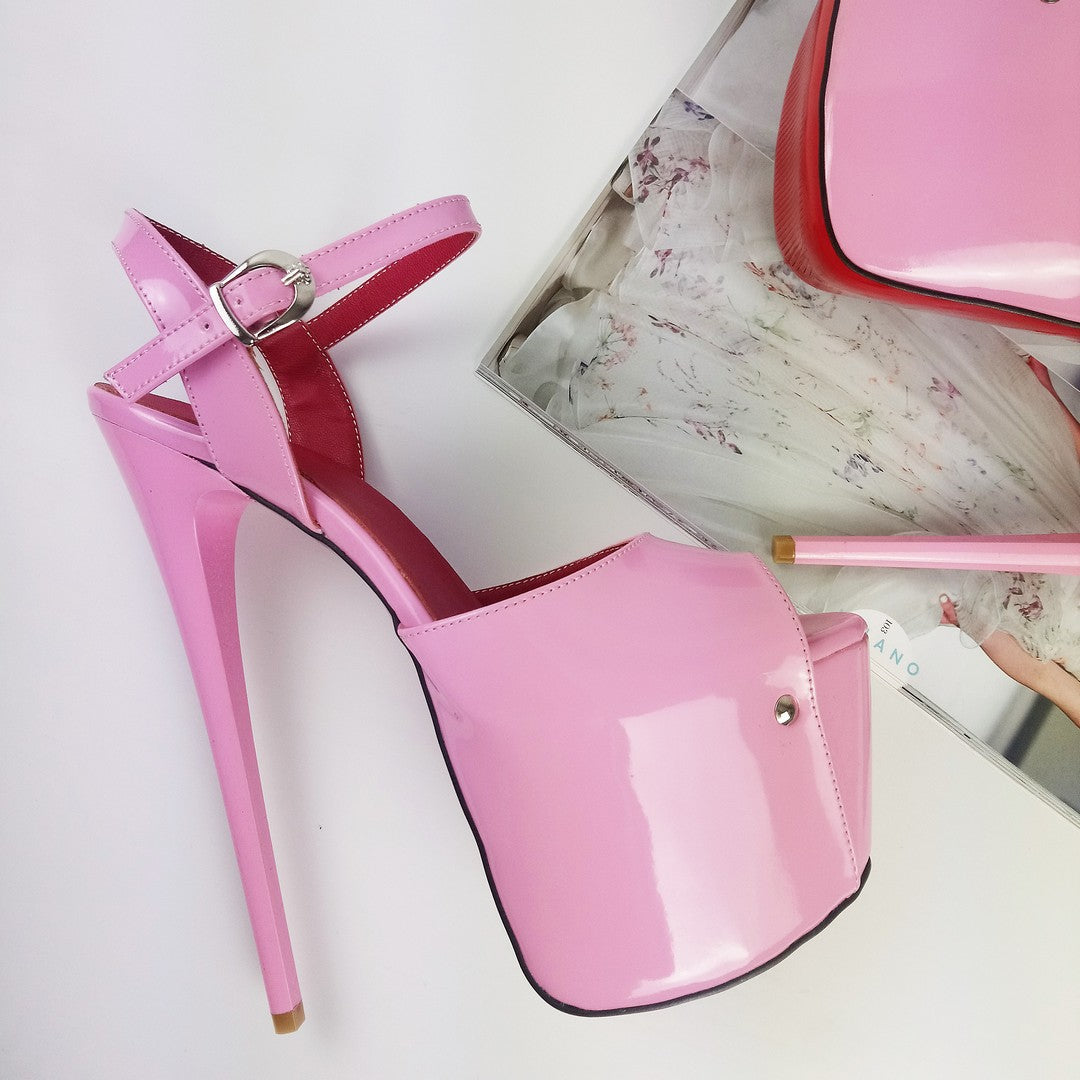 great fit check out where can i buy Light Pink Ankle Strap Platform Heels – Tajna Club
