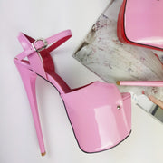 Light Pink Ankle Strap Platform Heels - Tajna Club