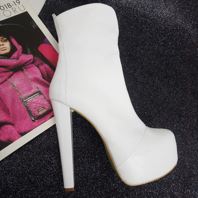 White Hidden Platform High Heel Boots - Tajna Club
