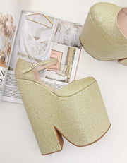 Gold Shiny High Heel Stylish Wedge Shoes - Tajna Club