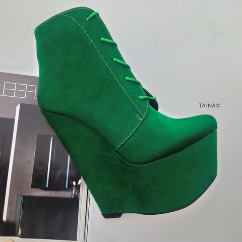 Green Suede 17 cm Wedge Booties - Tajna Club