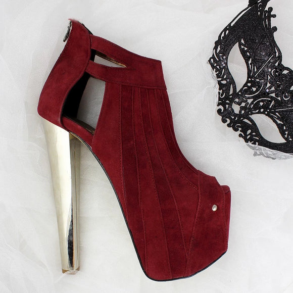 Burgundy Metallic Peep Toe Booties - Tajna Club