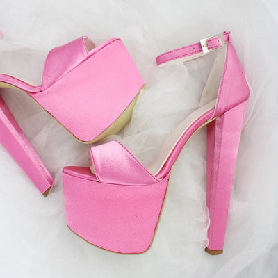 Fushia Pink Satin Bridal Platform Shoes - Tajna Club