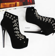 Black Punch Ankle Peep Toe Booties - Tajna Club