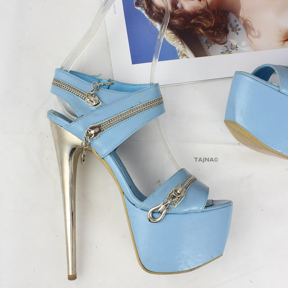 Baby Blue Zipper Detail Platform Sandals - Tajna Club
