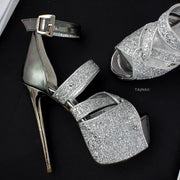 Silver Glitter Detail High Heel Platforms - Tajna Club