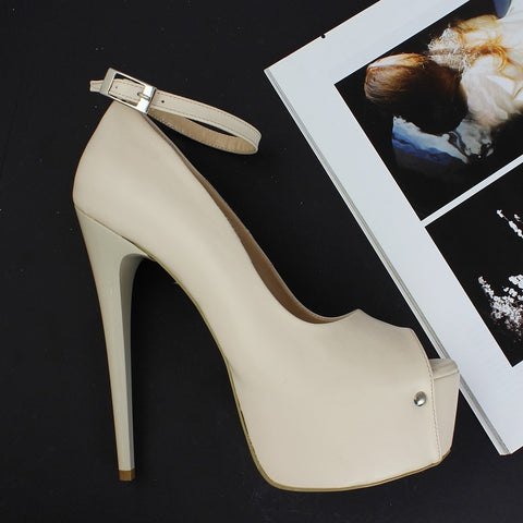 Cream Ankle Strap Platform Shoes - Tajna Club