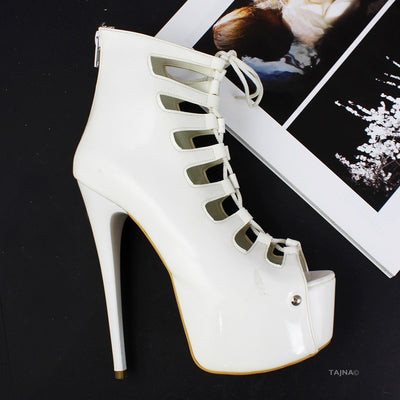 White Lace Up Gladiator Heels - Tajna Club