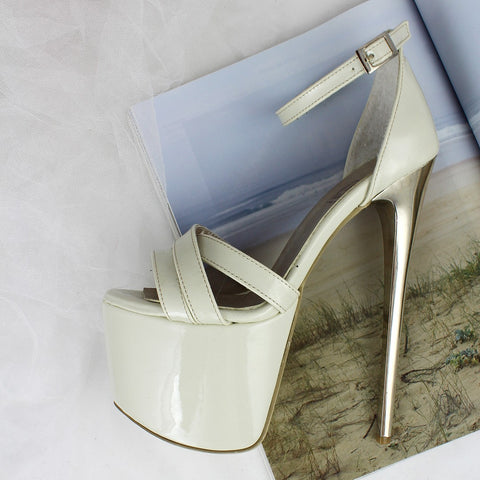 Cream Patent Ankle Strap Platform Shoes - Tajna Club