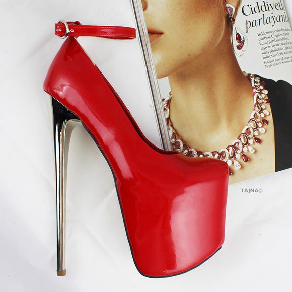 Red Patent Metallic Platform Heels - Tajna Club
